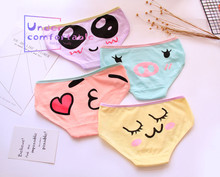 цена на New Cute Face Candy Color Girls Underwear Freshness Pure Cotton Panties Mid-Rise Soft Breathable  Girl's Briefs L106