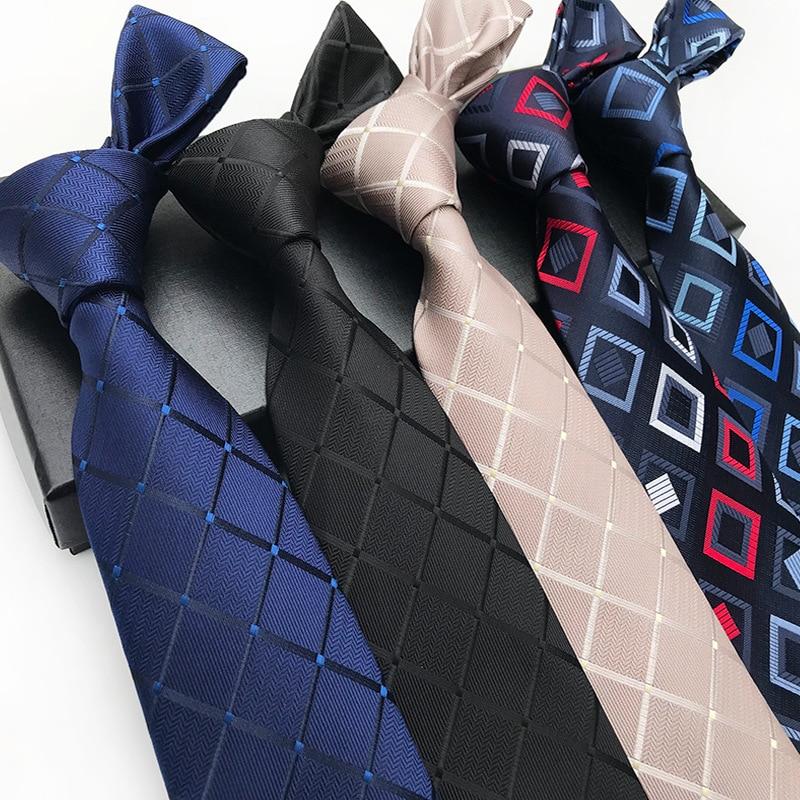 Luxury 8cm Men's Classic Tie Silk Jacquard Woven Plaid Check Striped Cravatta Ties Man Bridegroom Business Necktie Accessories