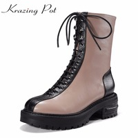 Krazing Pot Classics Cow Leather Women Lace Up Boots Mixed Color Med Heels Designer Fashion Handmade