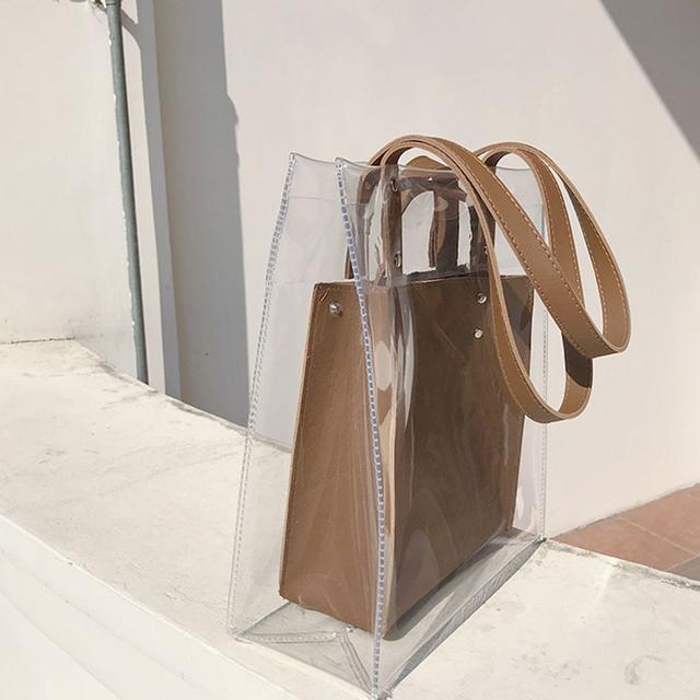 Transparent Pvc Large Capacity Composite Women's Handbags