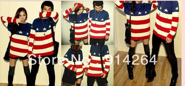 Women American Flag Stripe Knit Sweater Pullover Jackets Coats Jumper Loose Top    free shipping