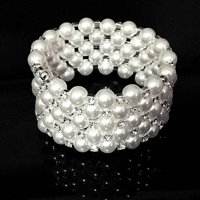 New Luxury Jewelry Wedding Wide 6 Row Pearl Bracelets Bangles For Women Crystal Female Hand Bracelet Charms Silver Braclet