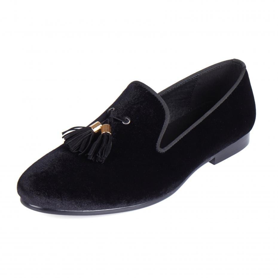 Harpelunde الرجال متعطل أحذية النعال المخملية السوداء مع شرابة مريحة الأحذية المسطحة حجم 6-14