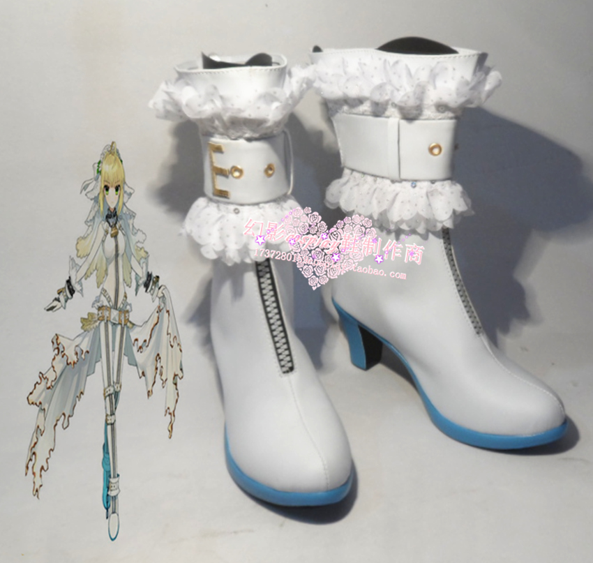 Fate Extra CCC Saber Bride Saber Nero White Halloween Girls Cosplay Shoes Boots H016