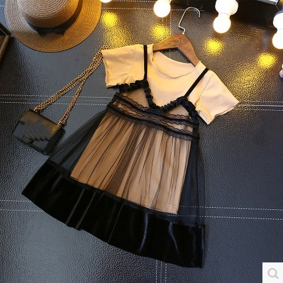 2019 new arrival girl fashion two pieces dress suit long t-shirt+lace dress Tops & Tees
