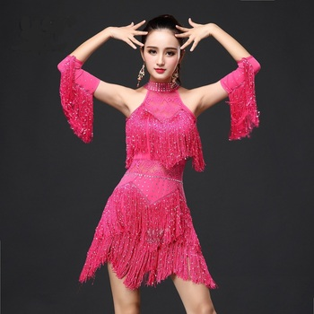 Wholesale New  Fringe Fashion Blue Red Pink Women Salsa Dance Dress / Ballroom Latin Free Shipping