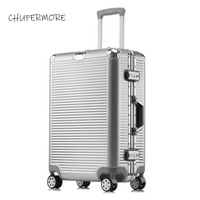 Large volume 100% aluminum frame Rolling Luggage Spinner brand Travel Bags Business long distance travel Suitcase Wheels