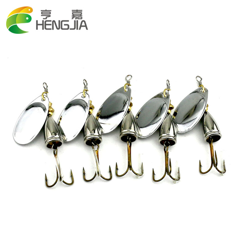 HENGJIA 5pcs 6.5cm 8.5g Spinner Spoon bait Fishing Lure Hard Fishing Spoon Lure Metal Jigging Lure Baits Fishing Tackle lifelike earthworm style fishing baits 5 pcs