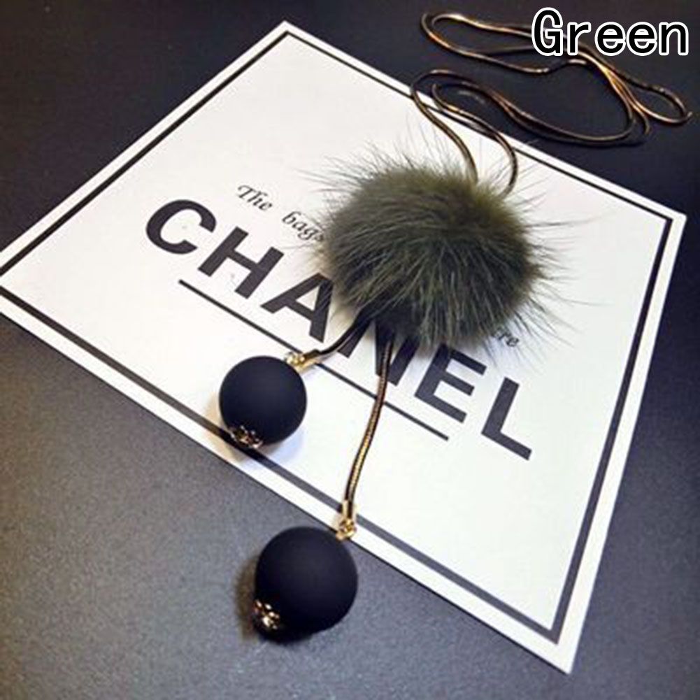Fashion Winter Long Jersey Sweater Chain Fur Pompom Pendant Necklace Jewelry New