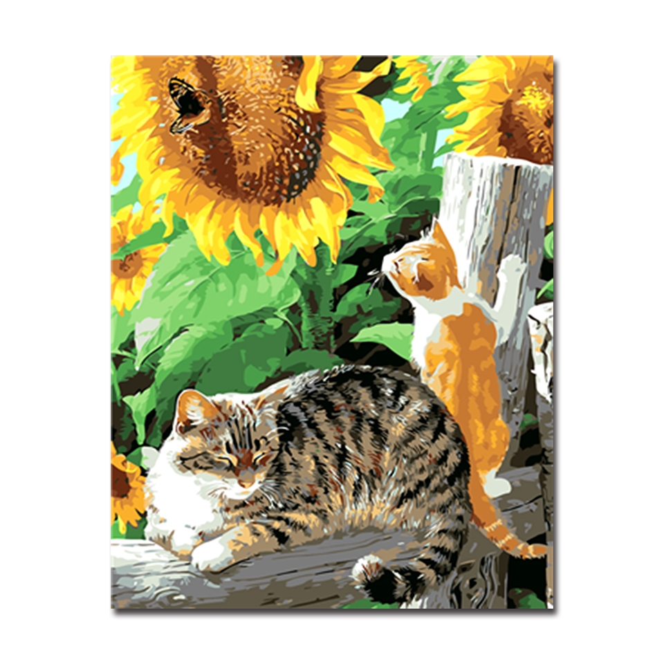 Sunflower Painting By Numbers Drawing Animal Cats DIY Digital Oil Pictures On Canvas Hand Paint Home Decor For Kids Unique Gifts