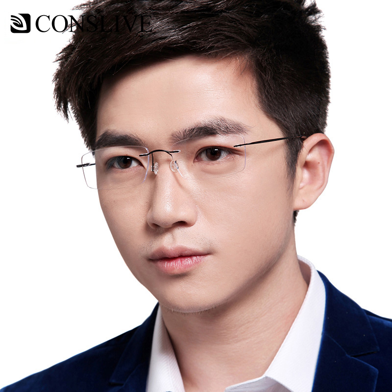 Prescription-Glasses Myopia-Only Optical-Frame Lenses-5001 Rimless Titanium Men For Nearsighted
