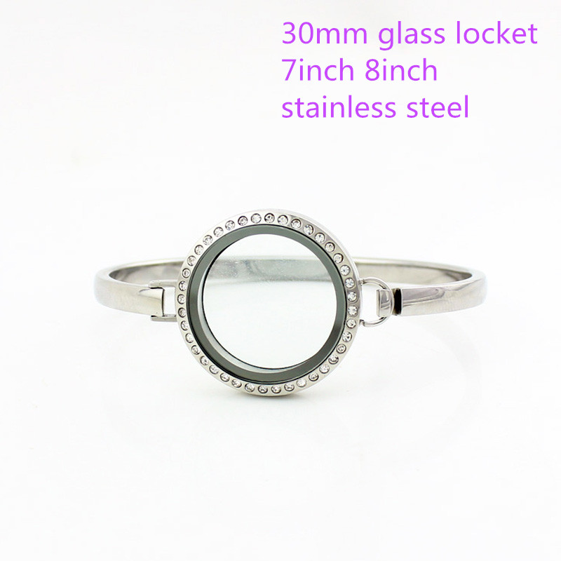 (Free with 10pcs Rhinestone) 316l stainless steel Screw Silver Crystal 30MM Glass Living Floating Locket Bangles Bracelets