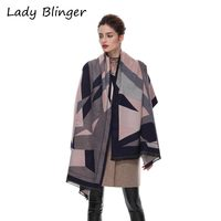 Lady Blinger Fashion Geometric Cashmere Wraps Women Winter Soft Pink Grey Print Shawl Big Size Crape