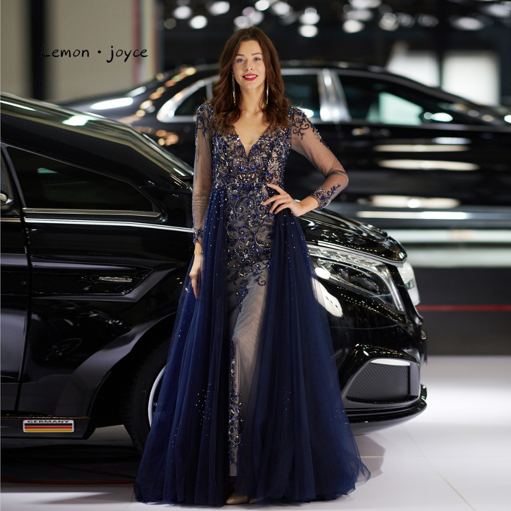 Lemon Joyce Formal Evening Dress Long Sleeves 2019 Sexy Beading Illusion Prom Party Gowns For Women Dubai Arabic Robe De Soiree