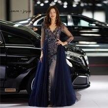 e225bee8e Lemon joyce Formal Evening Dress Long Sleeves 2019 Sexy Beading Illusion Evening  Gowns for Women Dubai Arabic robe de soiree