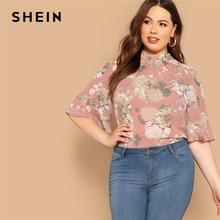 SHEIN Pink Mock-Neck Curved Hem Floral Print Half Sleeve Plus Size Women Tops Summer Elegant Keyhole Back Flounce Sleeve Blouses flounce sleeve choker tee