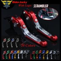 RiderJacky LOGO SCRAMBLER Motorcycle CNC Brake Clutch Levers For Ducati Scrambler(all except Cafe Racer) 2015 2016 Adjustable