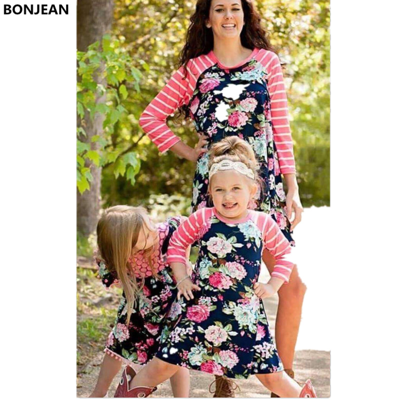 2017 Fashion Mother Daughter Dresses Mom and Daughter ...