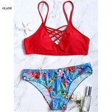 Bikini 2017 New Arrival Swimwear Women Bikini Set Cross Bandage Beach Bathing Suit Top Low Waist Swimsuit Maillot de Bain Femme