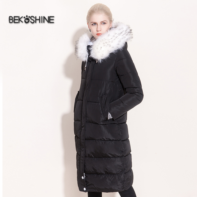 Bekoshine 2016 New Winter Jacket Women Cotton Coat Long Hooded Parka Jackets Overcoat Thick Plus Size Fur Collar Down Parkas 2017 women winter coat fur collar hooded long sleeve jackets slim thick winter jacket woman s down cotton parka plus size qh0242