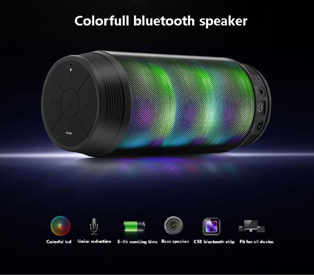 Fone de ouvido com microfone coloridos À Prova D' Água NFC Bluetooth Speaker Sem Fio Super Bass Subwoofer FM Caixa De Som Speaker Portátil Esporte Ao Ar Livre