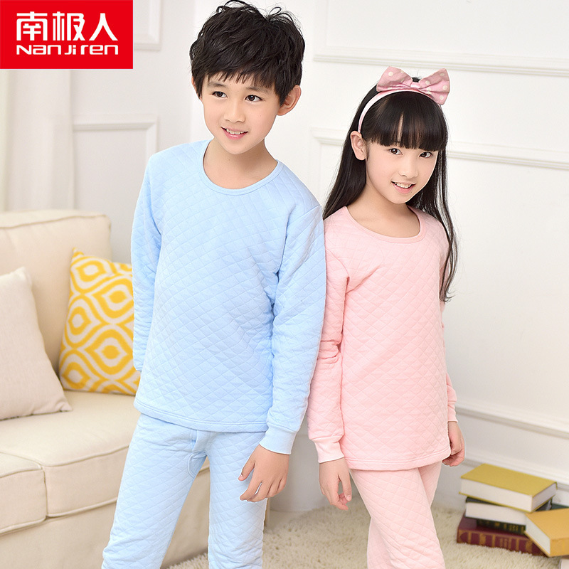 Three Layer Thermal Wear Pure Cotton Underwear For Kids Boys Baby Girls Set Long Johns Winter Child Vetement Thermique