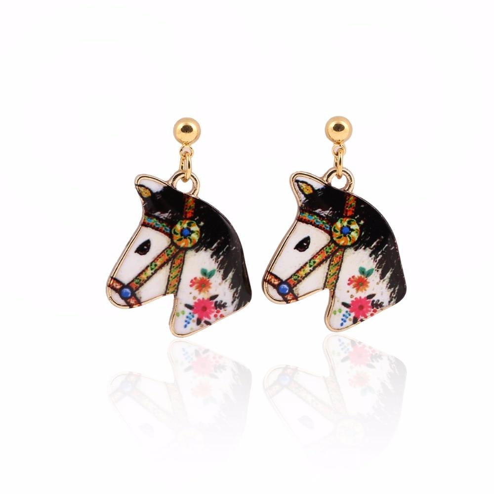 yiustar Offbeat Trendy Stud Jewelry Horse Earrings Handmade Cartoon Earrings Accessories for Girls Party Gift OEH032