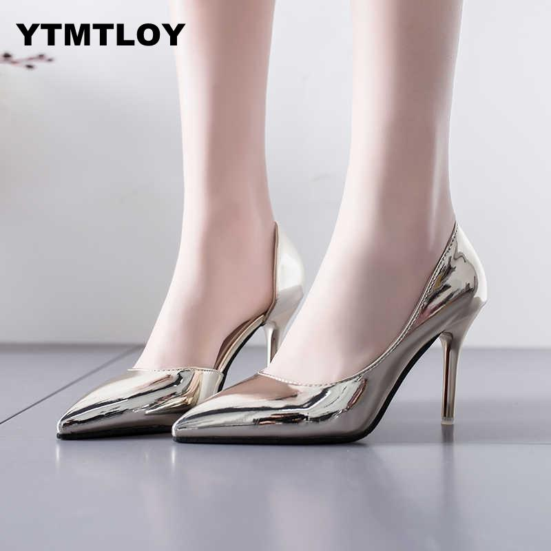Women Pumps Mid Heel Pump Ladies Pointed Toe Casual Shoes Sandals High Heels Wedding Sexy Pumps Gold Silver  Zapatos Mujer 8cm