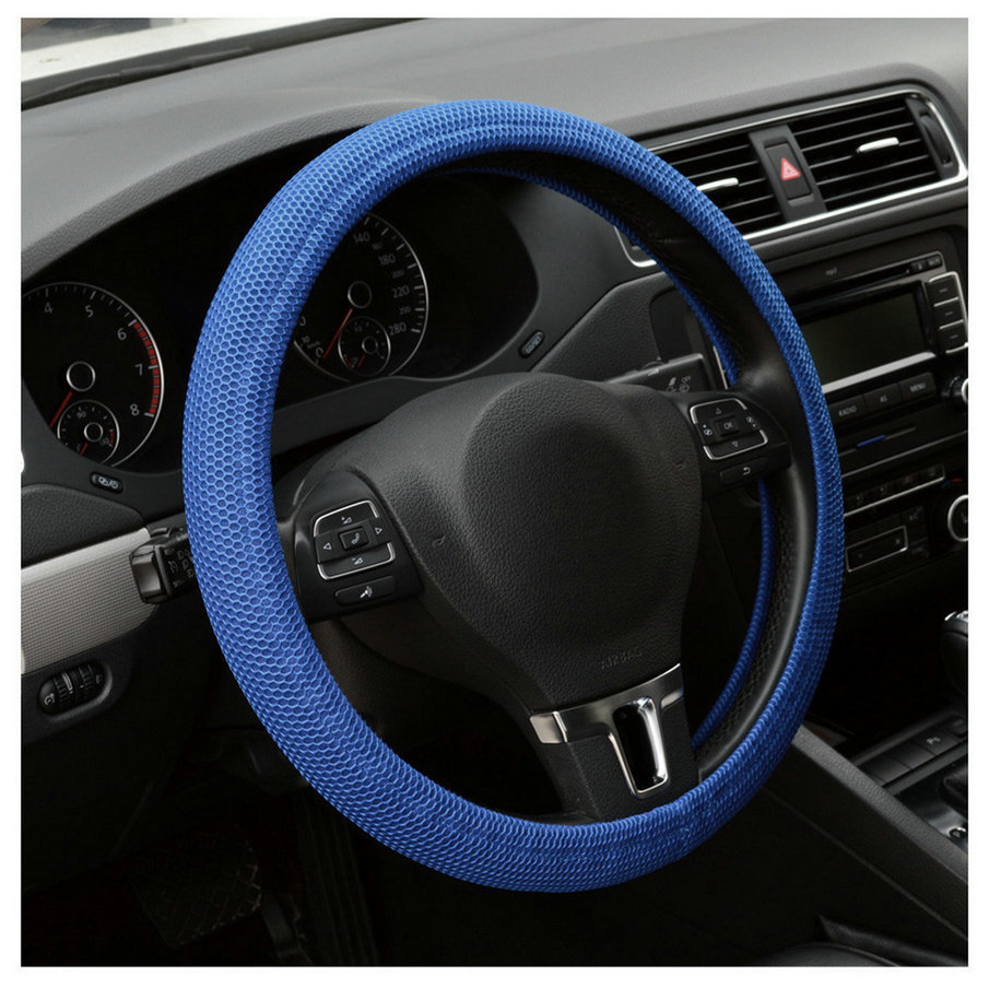 2017 hot sale Car Auto Universal Elastic Handmade Skidproof Steering Wheel Cover Blue/Black hot selling