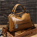 2016 Genuine Leather Boston Women Handbag Fashion Luxury Shoulder Bag Solid Zipper Women Pillow Bag Ladies Bag bolsos sac a main