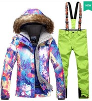 Women S Ski Clothes Female Skiing Snowboarding Riding Suit Violet Ski Jacket And Yellow Bib Pants
