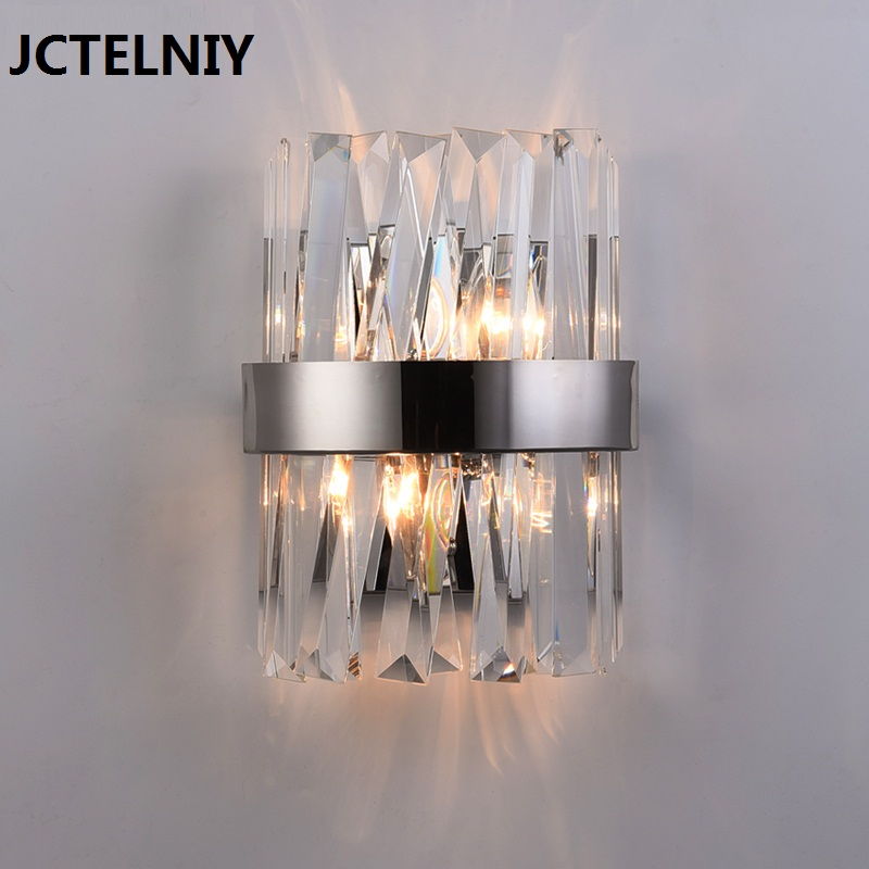 New crystal wall lamp bedside lamp chrome living room lamp stainless steel art wall decoration lamp