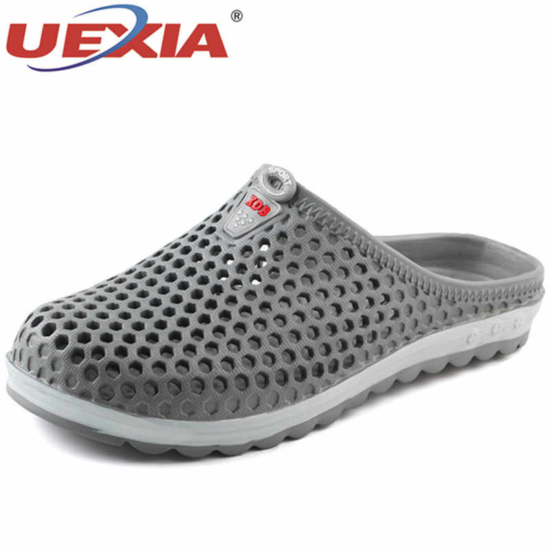 d8344689a7cdc ... UEXIA 2018 New Men Slippers Summer Slides Breathable Man Shoes Fashion  Flats Sandals Male Flip Flops ...