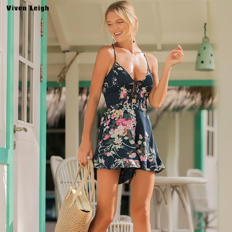 Casual Camis Playsuit Lace Up Sexy Bodysuit Women Short Boho Jumpsuit vestido Backless Bandage Summer Halter Beach Resort Romper