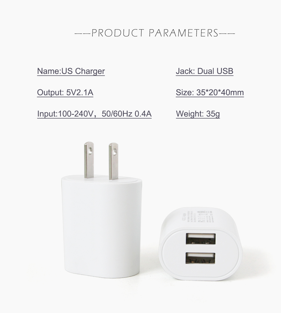 1PC US Adapter 5V2.1A Dual USB Charger For Smart Mobile Phone Charging ACDC Adaptor Travel in Japan Thailand Canada Mexico (9)
