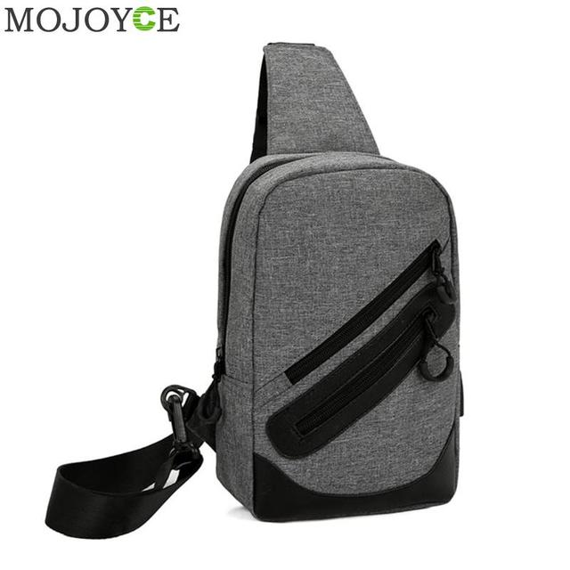 eb644a088 Men Canvas Messenger Bag USB Charging Laptop Chest Pack Casual Travel Chest  Bag Fashion Designer Men Small Crossbody Back Pack