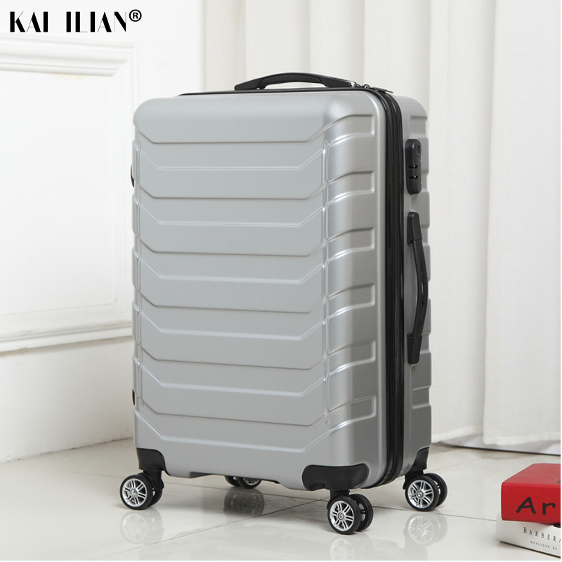 ABS+PC spinner rolling luggage carry-on suitcase on wheel travel trolley box 20/24 inch Silver fashion cabin boarding luggageABS+PC spinner rolling luggage carry-on suitcase on wheel travel trolley box 20/24 inch Silver fashion cabin boarding luggage