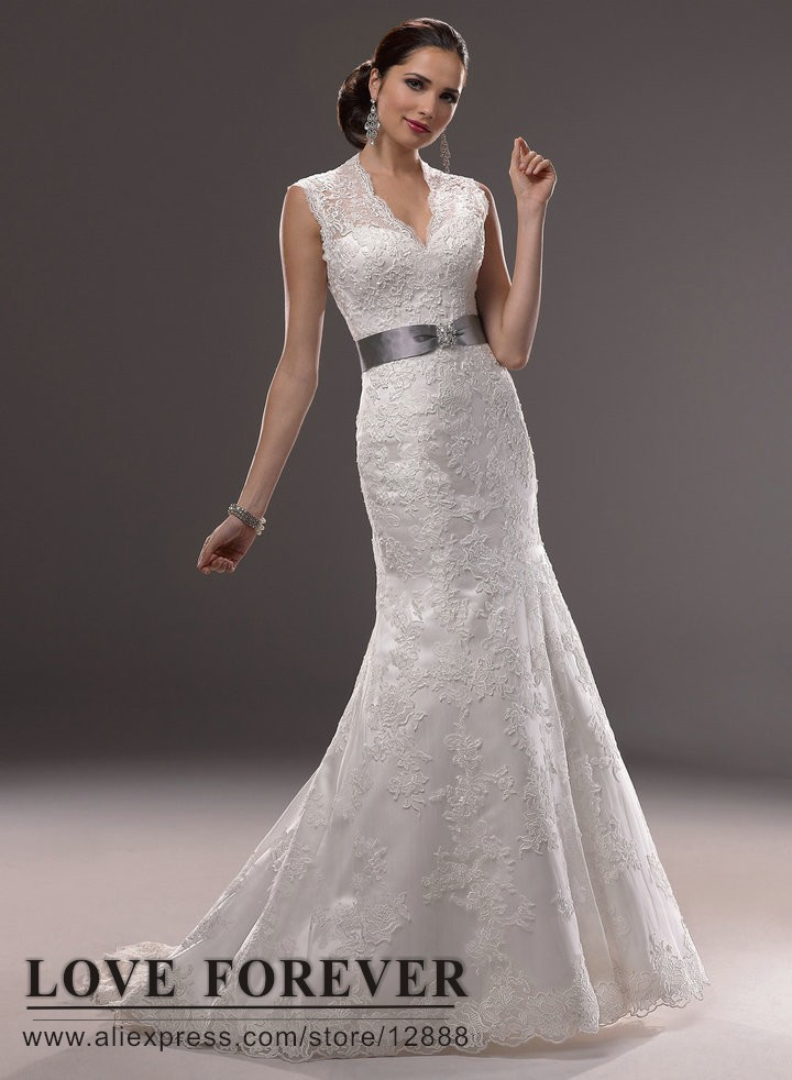 Cool Vintage New Whiteivory Mermaid Bridal Wedding Dress Lace With Gray Sash Short Sleeve Vestido De Noivain Dresses From Weddings U Events On