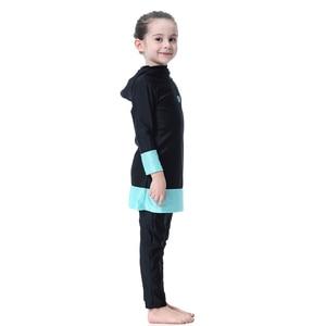 Image 4 - Hijab Islamic Swimsuit for Kids Swimwear Childrens Modest Swim Wear Long Sleeve Plus Size Girls Burkini 2 Piece Swimming Suit