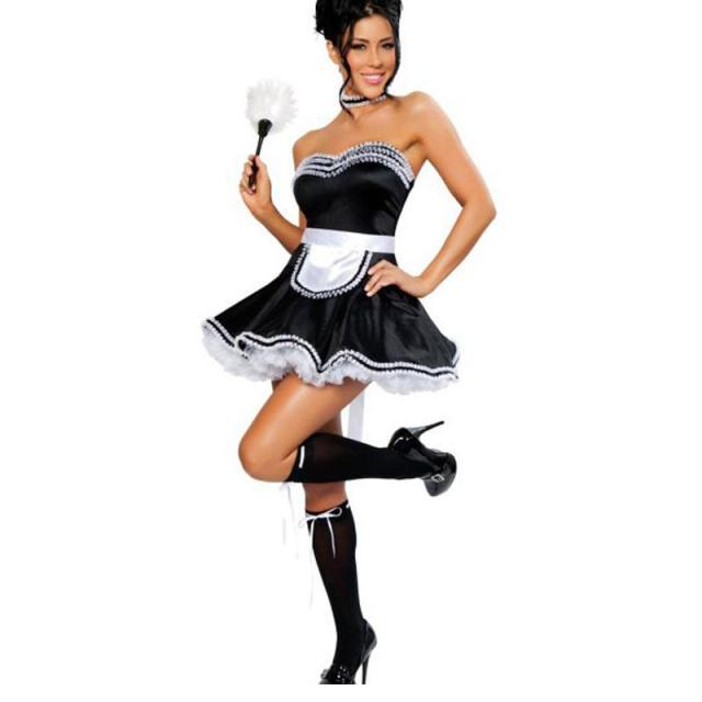 Hot Sale Black Cute Strapless Lace Trim Adult French Maid Cosplay Costume  Fancy dress Sexy Halloween Costume W348194 3081c77b5