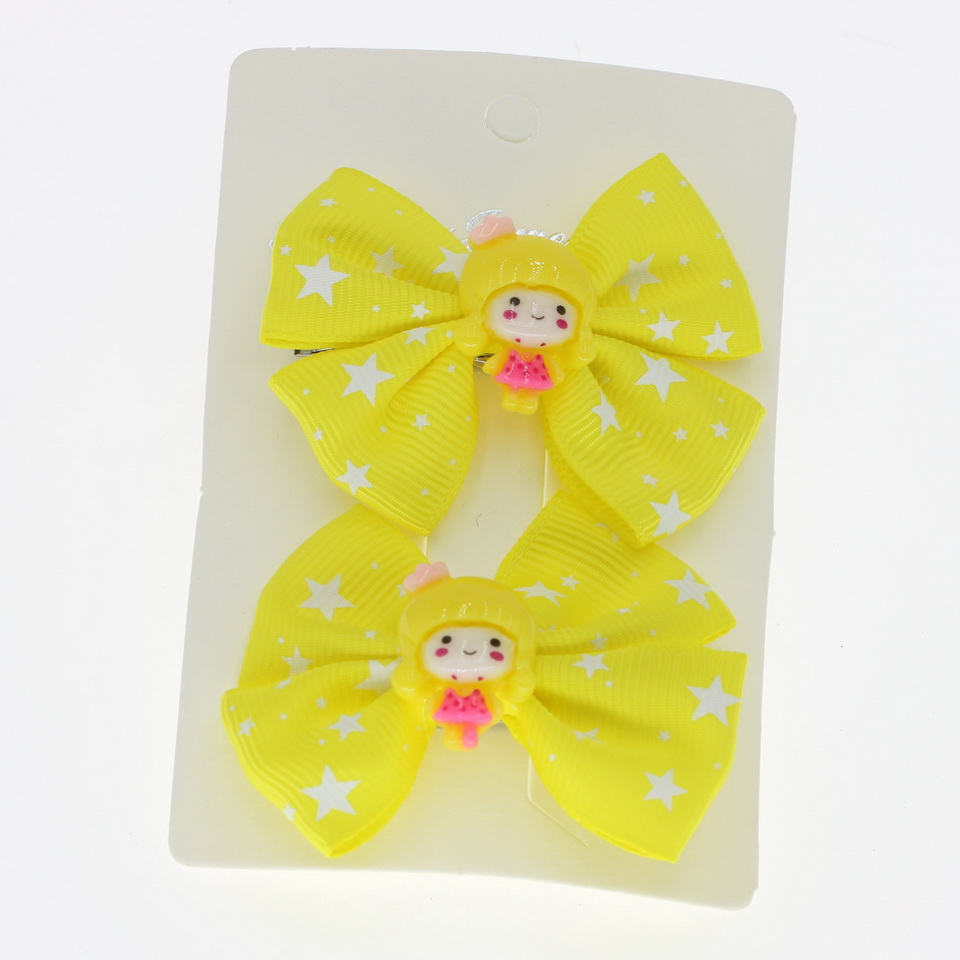 Lovely 2 pcs Cute Carton Girl Hair Bands Gum for hair accessories 2019 Hair Clips Bow Hair ornaments Big Star barrettes in Hair Accessories from Mother Kids