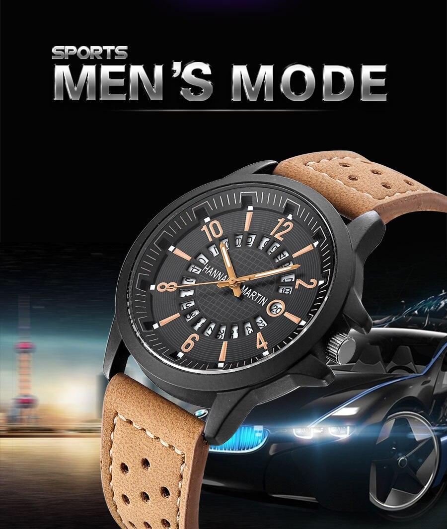 HTB1WLBdanHuK1RkSndVq6xVwpXa7 Men Wrist Watch Leather Casual Waterproof Calendar