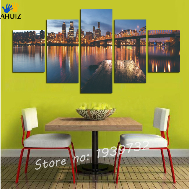 5 Panels Modern Wall Painting Night View Of The Lake wall art ...