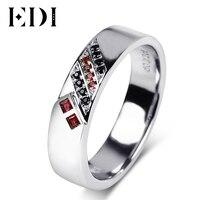 EDI Romantic Lovers Ruby Gemstone 14k 585 White Gold Wedding Rings For Women Sapphire Mens Bands