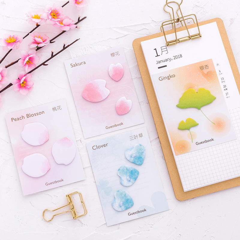 New Lovely Beautiful Cherry Petals Memo Pad Paper Post-It Notes Sticky Notes Notepad Stationery Papeleria Office School Supplies