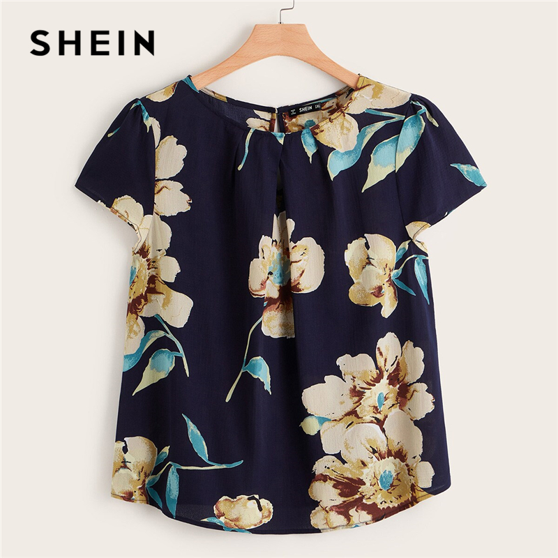 SHEIN Plus Flower Print Keyhole Back Blouse Navy Women Tops 2019 Boho Button Summer Round Neck Short Sleeve Blouses