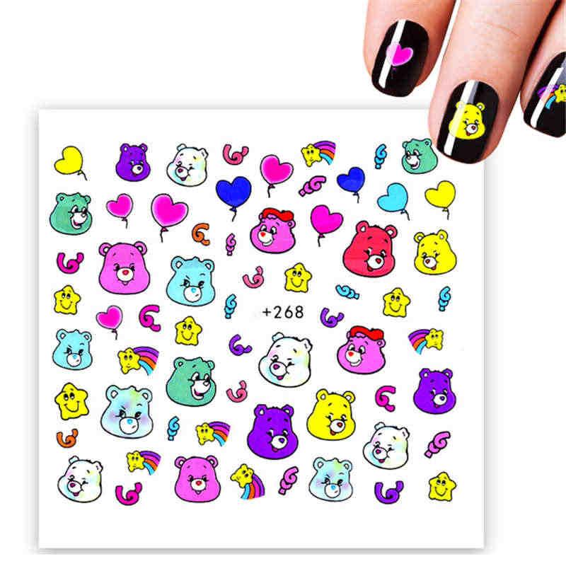 الكرتون الدب ملصقات المياه Kawaii مسمار الفن مانيكير الديكور حروف على مسمار يلتف نصائح لتصميم الوشم المؤقت