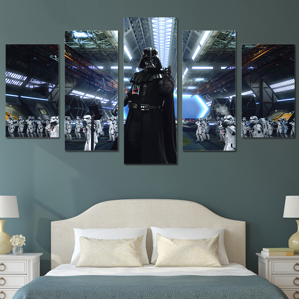 Watercolor Darth Vader Minimalist Canvas Poster Painting Star Wars ...