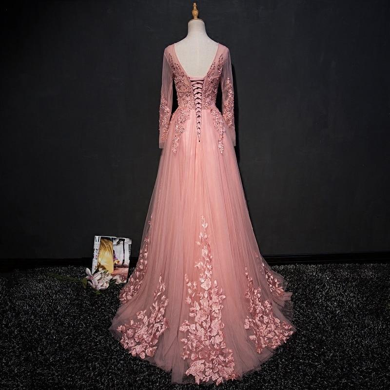 Trend lengan panjang renda gaun malam majlis elegan majlis wanita - Gaun acara khas - Foto 2