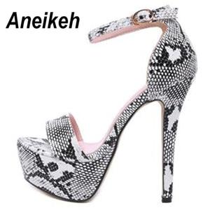 Image 5 - Aneikeh 2020 사문석 플랫폼 하이힐 샌들 여름 섹시한 발목 스트랩 오픈 발가락 검투사 파티 드레스 여성 신발 크기 4 9